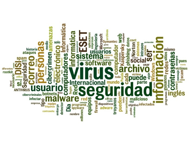seguridad informatica nube de tags, virus, malware, firewall, etc