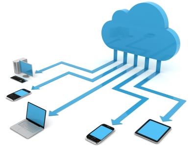 blue cloud and computer, tablet, mobile phone, desktop